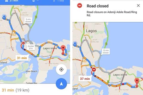 Google Maps Real Time Traffic Updates Is Now Available In Nigeria