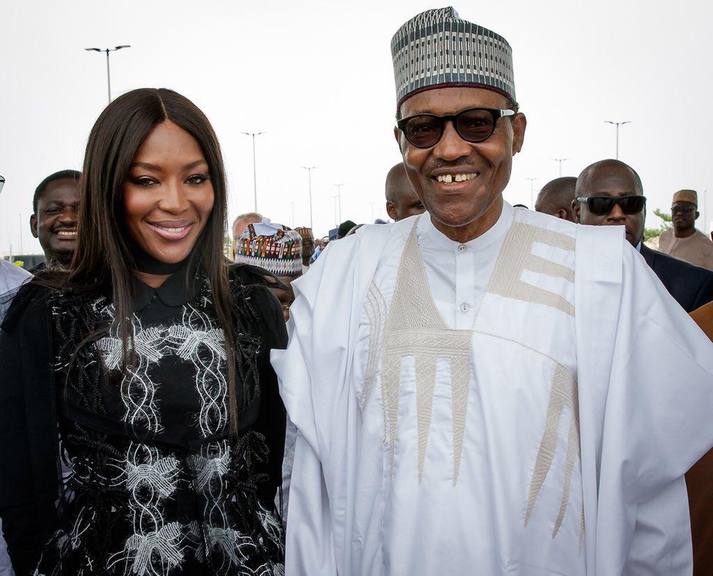 The Social Media Disaster of Nigeria's President Visit To Lagos Buhari and Naomi Campbell in Lagos